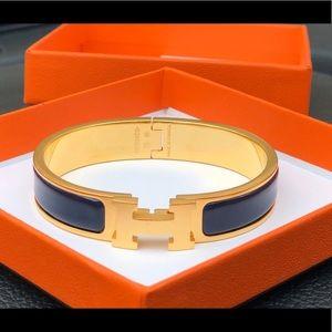 Hermes The H Bracelet - Gold/Navy Blue